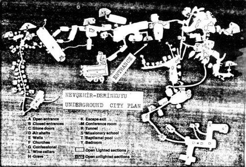 Турция) насчитывается до 400 подземных поселений.  Более основательно исследован город Деринкую, состоящий из восьми...