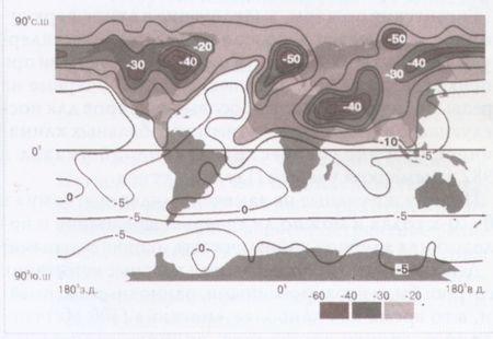 Изменение температуры воздуха у поверхности Земли через месяц после конфликта