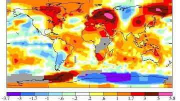 Карта температурных аномалий от НАСА