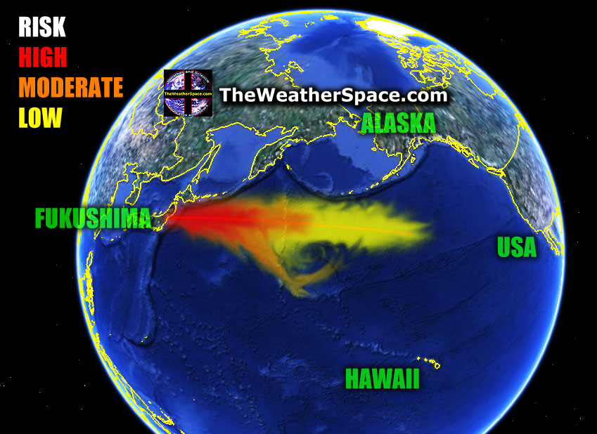 Карта распространения радиоактивного облака от Японии